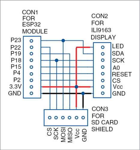 Circuit diagram of ESP32 picture slideshow