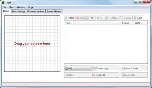 Slic3r interface on start up (Credit: slic3r.org)