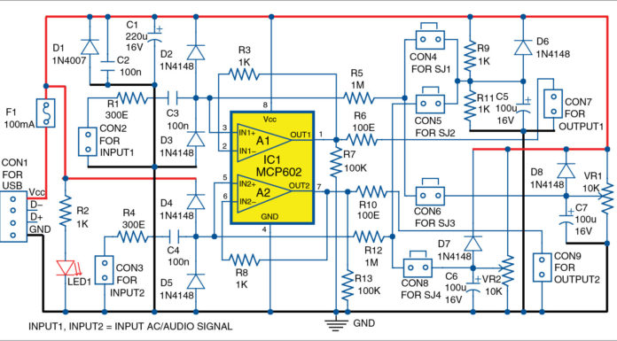 Circuit diagram of dual audio level shifter and buffer