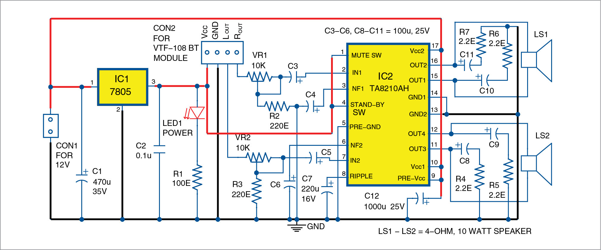 Two Channel Wireless Audio Amplifier Using Bluetooth And Ta8210ah Watt Wifi Power Schematic Circuit