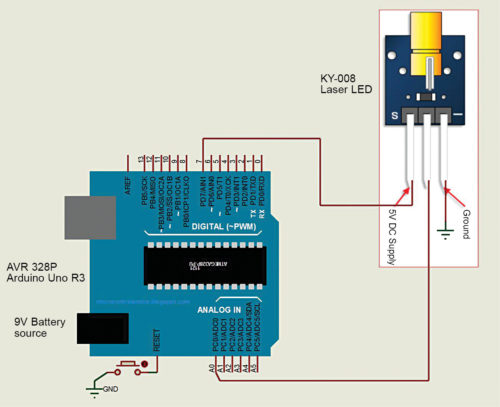 Circuit diagram for interfacing Keyes KY-008 laser LED module with Arduino