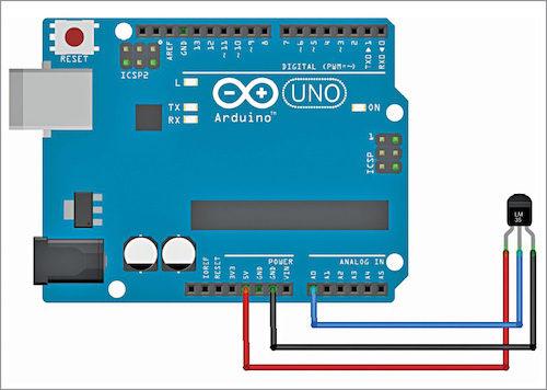 Circuit diagram of temperature sensor interfaced with Arduino