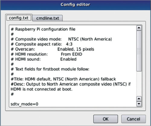 Editor for .config files (Credit: www.raspberrypi.org)