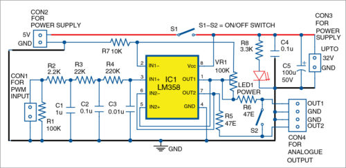 Circuit diagram of PWM-to-analogue signal converter