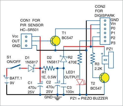 Circuit diagram of motion detector security alarm