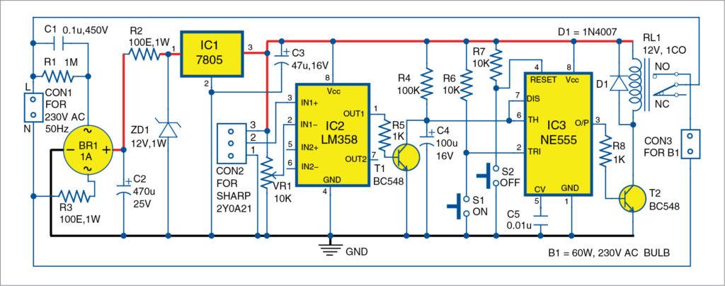 Circuit diagram of washbasin mirror light controller