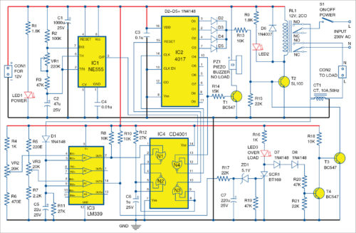 Circuit diagram of no-load and overload protector for AC motor