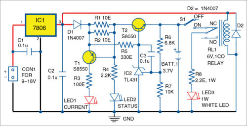 Circuit diagram of unique LED lantern