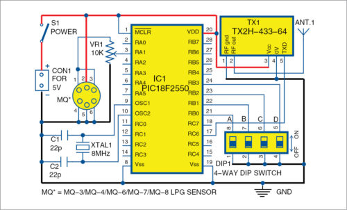 circuit diagram of wireless gas detection circuit