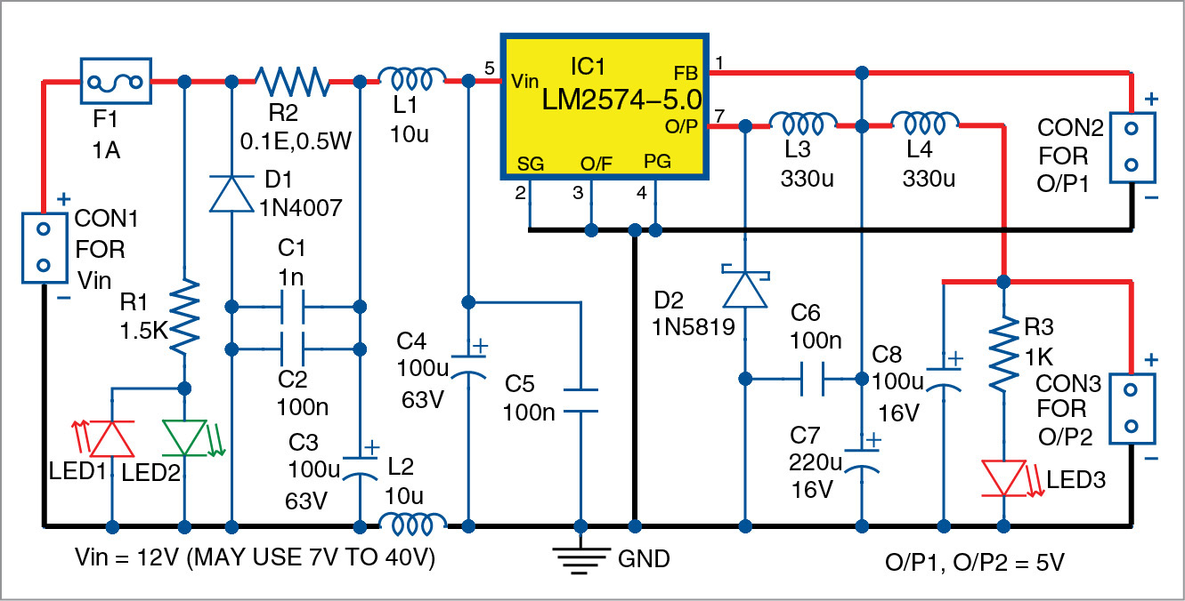 Low Noise 5v Dc Converter Using Lm2574 Electronics For You Circuit Diagram Ac 555 Timer