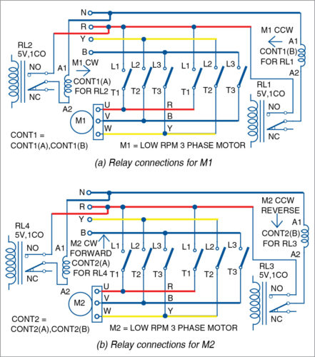 Motor connections with contactors and relays