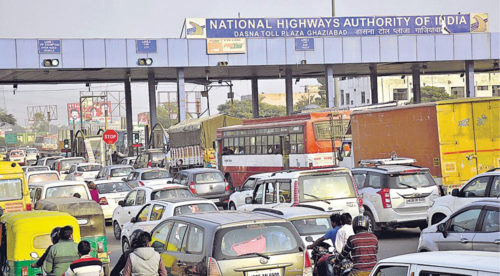 Traffic jams at toll plazas are common since majority of people pay the toll with cash
