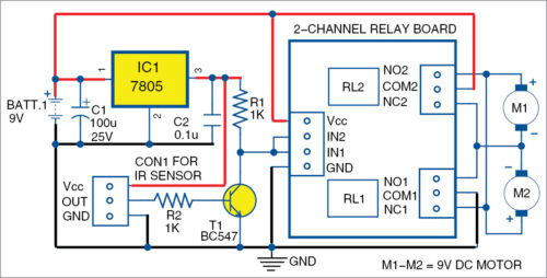 Circuit diagram of obstacle-avoidance robot