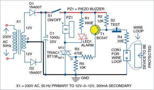 Circuit diagram of loop-based anti-theft alarm