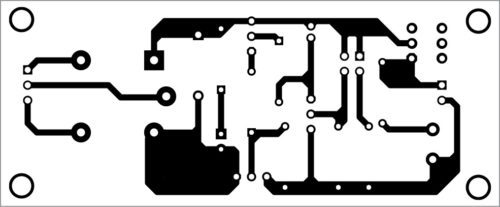Actual-size PCB layout of automatic IR faucet controller