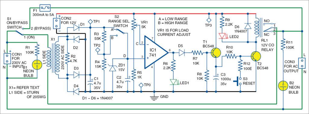 Circuit diagram of adjustable AC circuit breaker