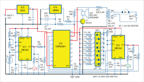 Circuit diagram of automatic plants watering system with melody