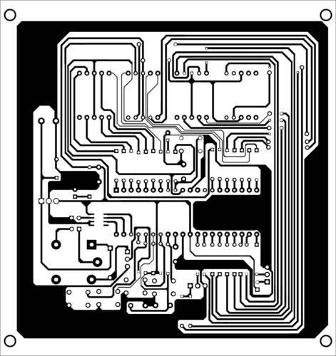 Actual-size PCB layout of digital thermometer