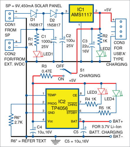Circuit diagram of solar USB bicycle power box