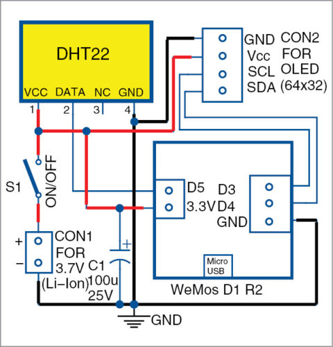 Circuit diagram of the data logger