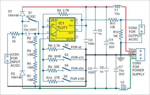 Active Probe With High Input Impedance And Selectable Gain