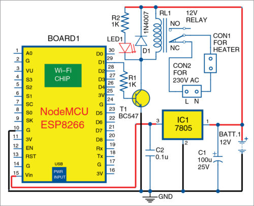 Circuit diagram of IoT-based timer switch for water heater