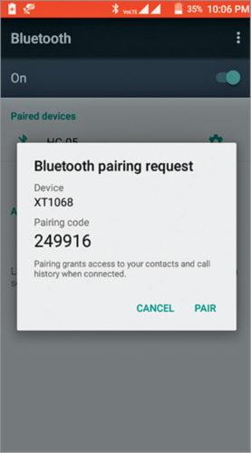 Sending Bluetooth pairing request