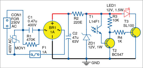 Circuit diagram of low-cost ambient-light-controlled LED Night Lamp