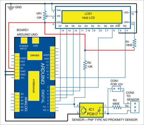 Circuit diagram of Arduino-based digital tachometer