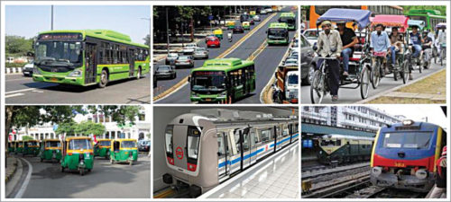 Multiple public transportation modes of New Delhi (Credit: www.researchgate.net)