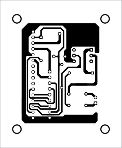 Actual-size PCB layout of digital frequency meter