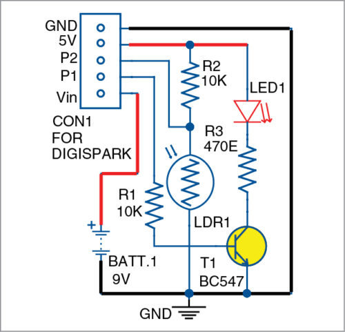 Circuit diagram of LED night marker