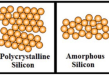 Amorphous silicon versus polycrystalline silicon (Credit: Wikipedia)