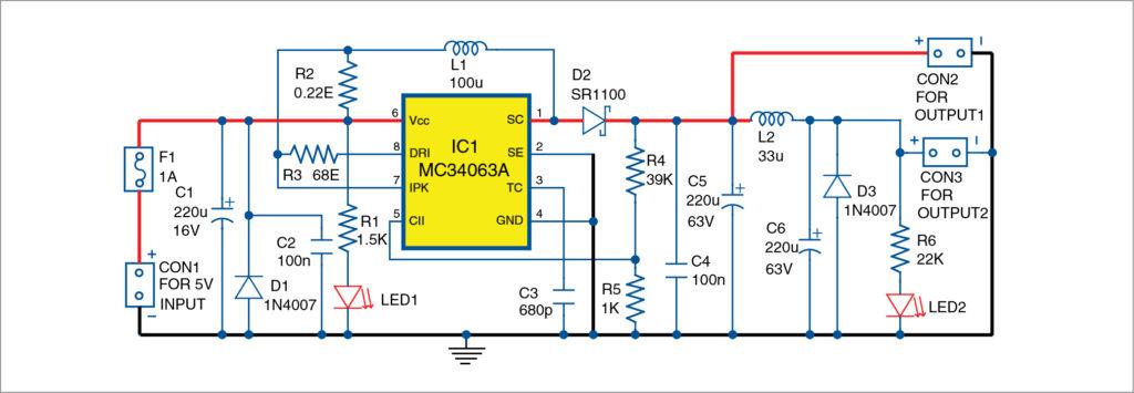 Circuit diagram of 5V DC to 48V DC converter