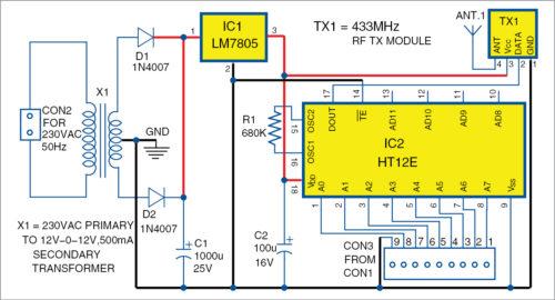 Circuit diagram of the transmitter unit