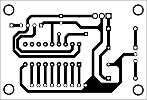 Actual-size PCB layout of the transmitter unit