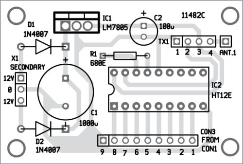 Components layout for the transmitter unit PCB