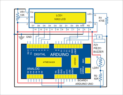 Circuit diagram of the light-level monitoring system