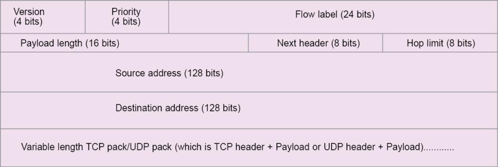 Fig. 1: IPv6 packet format