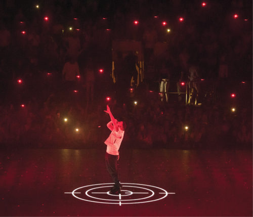 Drones as back-up dancers at a stage performance at New York's Madison Square Garden