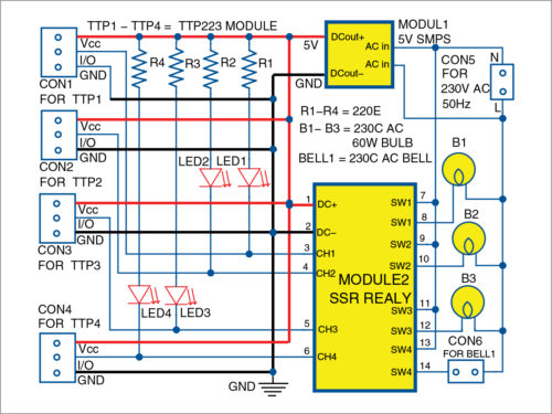 Fig. 5: Circuit diagram of the four-channel touch switch