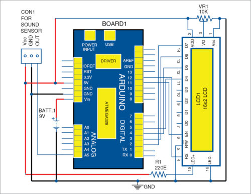 Circuit diagram of the noise level monitor