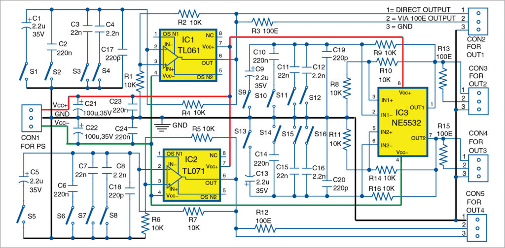 Circuit diagram of the simple Tester For Operational Amplifiers