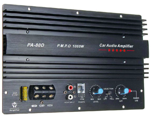 PMPO rating on the panel of a car audio amplifier