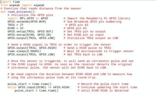 Distance sensor code