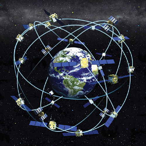 Earth surrounded by navigation satellites