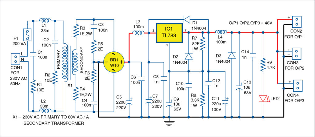 Fig. 1: Circuit diagram of the 48V regulated power supply