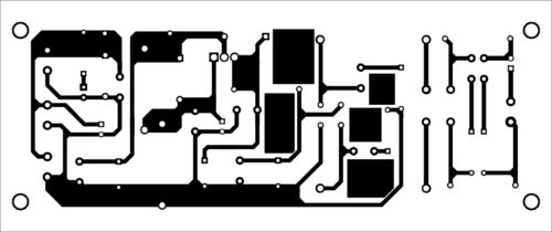 Fig. 2: Actual-size PCB layout of the 48V regulated power supply