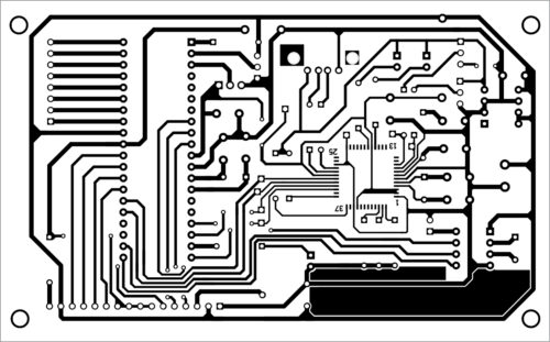 Fig. 4: Actual-size PCB layout of the real-time USB data logger