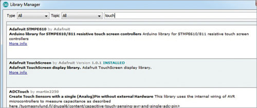 Fig. 5: Installing TouchScreen library